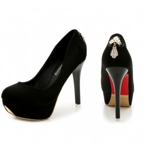 Black Round Toe Stiletto Casual High-Heeled Shoes