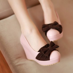 Pink Round Toe Wedges Bow Cute High-Heeled Shoes
