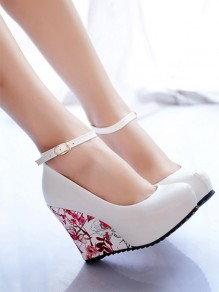 White Round Toe Wedges Floral Print Buckled Casual Vintage Elegant High-Heeled Shoes