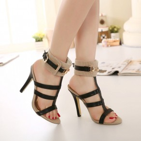Apricot Piscine Mouth Stiletto Buckled Casual Ankle Sandals