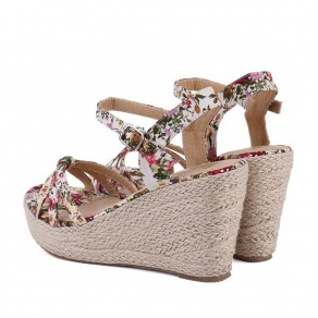 Red Piscine Mouth Wedges Floral Print Buckled Fashion Ankle Sandals