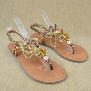 Golden Round Toe Flat Chain Beads Fashion Ankle Sandals