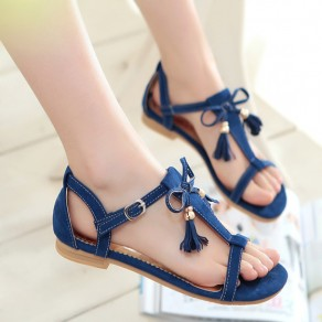 Blue Piscine Mouth Flat Tassel Buckled Casual Ankle Sandals