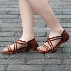 Brown Piscine Mouth Flat Tassel Double Buckle Fashion Ankle Sandals