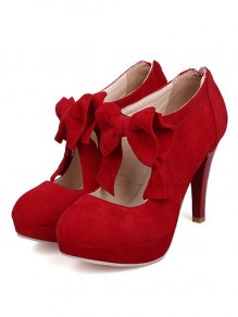 Red Round Toe Stiletto Bow Fashion High-Heeled Shoes