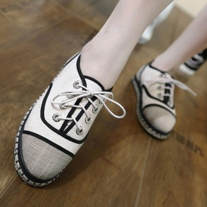 Beige Round Toe Splicing Lace-up Fashion Flat Ankle Shoes