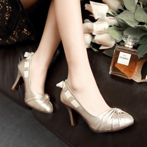 Golden Round Toe Stiletto Bow Fashion High-Heeled Shoes