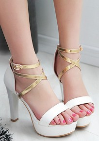 White Round Toe Chunky Patchwork Buckled Fashion High-Heeled Sandals