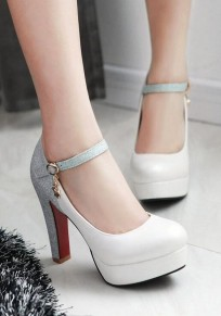 White Round Toe Chunky Patchwork Casual High-Heeled Shoes