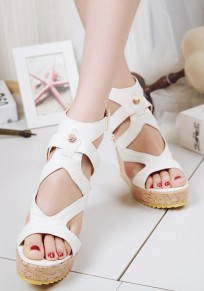 White Piscine Mouth Wedges Buckle Fashion High-Heeled Sandals