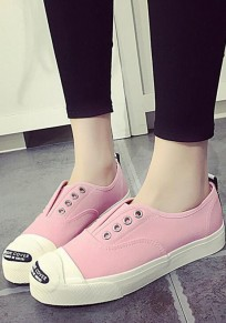 Pink Round Toe Patchwork Letter Print Casual Flat Shoes