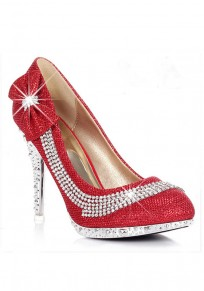 Red Point Toe Stiletto Rhinestone Sequin Bow Fashion High-Heeled Shoes