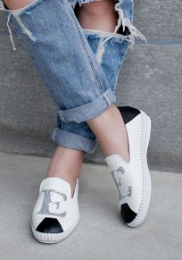 White Round Toe Flat Patchwork Letter Casual Shoes