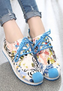 Blue Round Toe Floral Print Lace-up Casual Flat Shoes