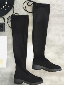 Black Round Toe Chunky Lace-up Casual Over-The-Knee Thigh High Boots