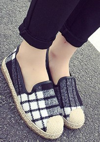 Grey Round Toe Flat Plaid Print Casual Canvas Shoes