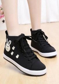 Black Round Toe Print Lace-up Casual Cloth Shoes