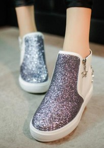 White Round Toe Within The Higher Rivet Sequin Casual Boots