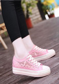 Pink Round Toe Flat Lace Sweet Canvas Shoes