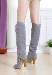 Grey Round Toe Chunky Zipper Casual Knee-High Boots