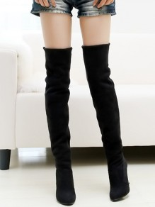 Black Point Toe Stiletto Casual Over-The-Knee Boots