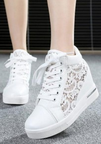 White Round Toe Flat Within The Higher Hollow-out Casual Shoes