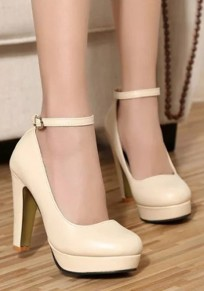 Beige Round Toe Chunky Fashion High-Heeled Shoes