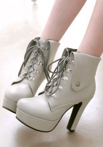 Grey Round Toe Chunky Lace-up Fashion Ankle Boots
