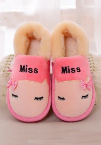 Pink Round Toe Flat Print Sweet Ankle Shoes