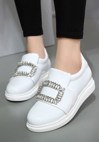 White Round Toe Flat Rhinestone Casual Ankle Shoes