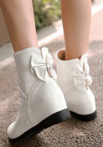 White Round Toe Flat Crystal Bow Sweet Boots