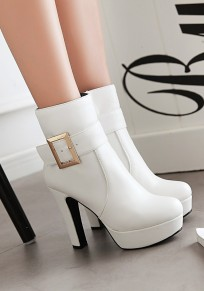 White Round Toe Chunky Buckle Add Feathers Casual Ankle Boots