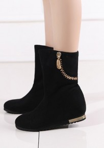 Black Round Toe Flat Within The Higher Zipper Fashion Mid-Calf Boots