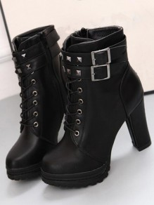 Black Round Toe Chunky Rivet Fashion Martin Boots
