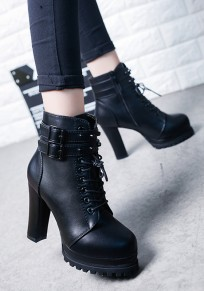 Black Round Toe Chunky Rivet Buckle Fashion Ankle Boots