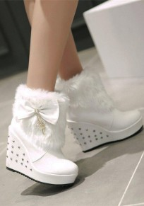 White Round Toe Wedges Faux Fur Bow Fashion Boots
