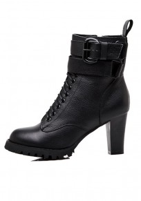 Black Round Toe Chunky Double Buckle Fashion Martin Boots