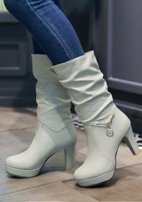 Grey Round Toe Stiletto Casual Mid-Calf Boots