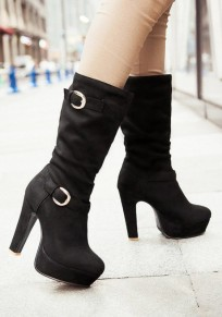 Black Round Toe Chunky Buckle Casual Mid-Calf Boots