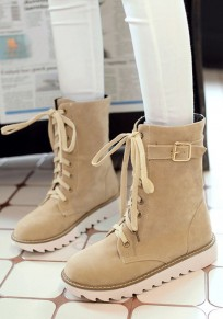 Apricot Round Toe Flat Lace-up Casual Mid-Calf Boots