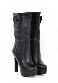Black Round Toe Chunky Bow Casual Mid-Calf Boots