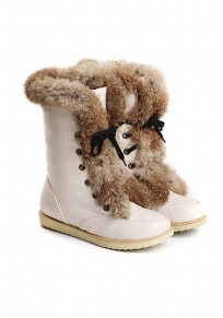 Beige Flat Lace-up Faux Fur Patchwork Casual Ankle Boots