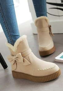 Beige Round Toe Heavy-Soled Bow Fashion Ankle Boots