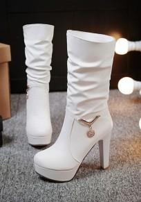 Weiß Runde Zehe Strass Blockabsatz Elegant Mit Absätzen Mid-Calf Stiefel Herbst Boots Damen Schuhe
