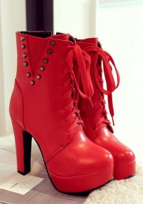Red Round Toe Chunky Rivet Fashion Ankle Boots
