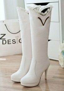 White Round Toe Stiletto Lace Stitching Fashion Boots
