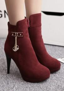 Botas de tobillo punta redonda estilo de la cadena de aguja vino tinto