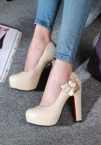 Beige Round Toe Chunky Bow Fashion High-Heeled Shoes