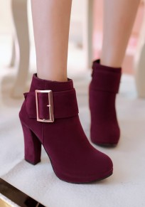 Purple Round Toe Chunky Zipper Casual Ankle Boots
