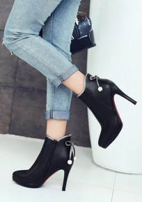 Black Point Toe Stiletto Bow Casual Ankle Boots